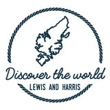Lewis and Harris Map Outline. Vintage Discover the World Rubber Stamp with Island Map. Hipster Style Nautical Insignia, with Round Rope Border. Travel Vector Royalty Free Stock Image