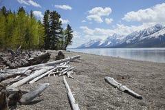 Lewis Lake unterhalb großartigen Teton-Gebirgszugs Stockbild