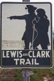 Lewis och Clark bakkantr tecknet Royaltyfria Foton