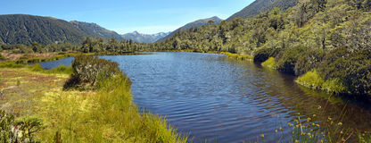 Lewis Pass Tarn Panorama, New Zealand. Royalty Free Stock Images