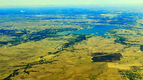 Lewisville Lake from top. Aerial view of Lewisville Lake, Dallas around morning time stock photos