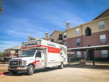 U-HAUL truck at apartment building complex in Texas, America stock photography