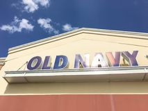 Exterior of Old Navy clothing and accessories retailing company. LEWISVILLE, TX, USA-JUL 1, 2018:Close-up logo facade exterior of Old Navy chain store. Clothing Royalty Free Stock Photos