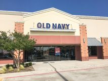 Exterior of Old Navy clothing and accessories retailing company. LEWISVILLE, TX, USA-JUL 1, 2018:Facade exterior entrance of Old Navy chain store. Clothing and Stock Photos