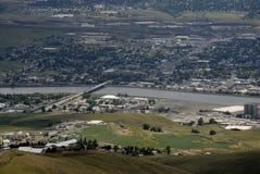 LEWSITON从LEWISTON小山的谷视图 免版税库存照片