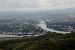 LEWSITON从LEWISTON小山的谷视图 库存图片