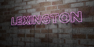 LEXINGTON - Glowing Neon Sign on stonework wall - 3D rendered royalty free stock illustration Royalty Free Stock Image