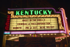 Lexington Kentucky neon marquee sign for movie theater saying Kentucky Royalty Free Stock Image