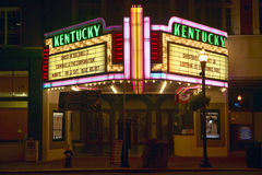 Lexington Kentucky neon marquee sign for movie theater saying Kentucky Stock Photos