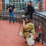 Lexington, Ky USA Lexington komiczka & Zabawkarscy przeciwów fotografów kłapnięcia obrazki cosplayers - Marzec 11, 2018 - gdy poz fotografia royalty free