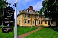 Lexington, MA: Historic 1709 Buckman Tavern. Lexington, MA: 1709 Buckman Tavern where the Minute Men (Lexington Militia) gathered prior to the April 19, 1775 Royalty Free Stock Image