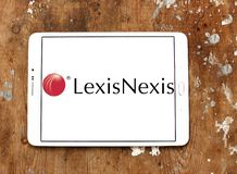 LexisNexis corporation logo. Logo of LexisNexis corporation on samsung tablet on wooden background. LexisNexis Group is a corporation providing computer-assisted Stock Photography