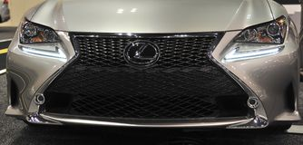 Lexus Car Grill. An up close grill shot of a Lexus sports car, Lexus is the luxury division of Toyota royalty free stock photo