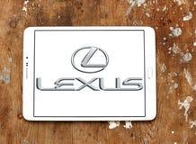 Lexus car logo. Logo of lexus car brand on samsung tablet on wooden background Royalty Free Stock Photography