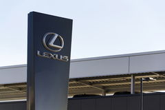 Lexus car logo in front of dealership building on February 25, 2017 in Prague, Czech republic Stock Photography