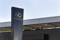 Lexus car logo in front of dealership building on February 25, 2017 in Prague, Czech republic Stock Photo
