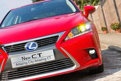 Lexus CT 200h Hybrid Car 2014 front angle look Stock Photography