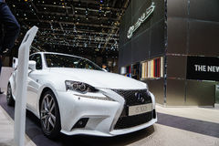 Lexus IS 300h, Motor Show Geneve 2015. Lexus IS 300h - The Dynamic Sports Saloon Stock Photo