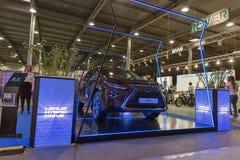 Lexus hybrydowego samochodu budka na Kijowskiej Przenośnej Ukraina 2017 wystawie Obraz Royalty Free