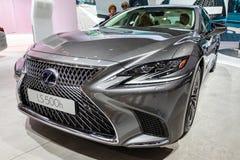 Lexus LS 500h hybrid luxury sedan car. PARIS - OCT 3, 2018: Lexus LS 500h hybrid luxury sedan car showcased at the Paris Motor Show stock photos