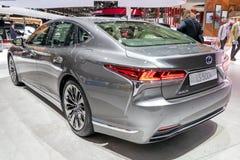 Lexus LS 500h hybrid luxury sedan car. PARIS - OCT 3, 2018: Lexus LS 500h hybrid luxury sedan car showcased at the Paris Motor Show stock images