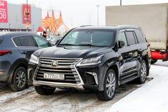 Lexus LX570. Ufa, Russia - February 3, 2018: Black motor car Lexus LX570 in the city street Royalty Free Stock Photos