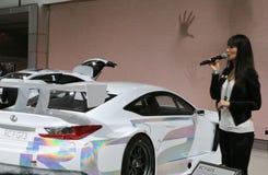 Lexus Race bil på den internationella auto showen Fotografering för Bildbyråer