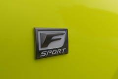 Lexus RC 350 F sporta emblemat na pokazie Obrazy Royalty Free