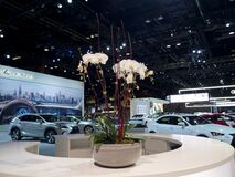 Lexus Showroom desk with flowers at the annual International auto-show, February 9, 2019 in Chicago, IL