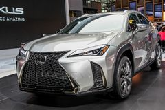 Lexus UX 200. NEW YORK CITY-MARCH 28: Lexus UX 200 shown at the New York International Auto Show 2018, at the Jacob Javits Center. This was Press Preview Day One Stock Photos