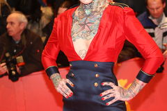 Lexy Hell (tattoo detail). BERLIN, GERMANY - FEBRUARY 18: Lexy Hell (tattoo detail) attends the Closing Ceremony during of the 62nd Berlin Film Festival at the royalty free stock images