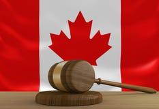 Ley de Canadá y sistema de justicia con la bandera nacional stock de ilustración