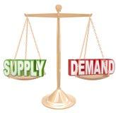Ley de los principios de la economía de escala de la balanza de la oferta y de la demanda Imágenes de archivo libres de regalías
