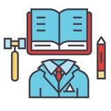 Ley de negocio, justicia, bufete de abogados, concepto del abogado Ilustración del Vector