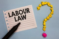 Ley de trabajo del texto de la escritura de la palabra Concepto del negocio para las reglas aplicadas por el estado entre los pat Imagen de archivo libre de regalías