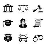 Ley, iconos monocromáticos de la justicia fijados Foto de archivo libre de regalías