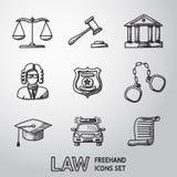 Ley, iconos a pulso de la justicia fijados Vector Imagenes de archivo