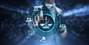 Ley laboral, abogado, abogado en la ley, concepto del negocio del asesoramiento jur?dico en la pantalla stock de ilustración