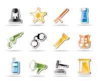 Ley, orden, policía e iconos simples del crimen Imagen de archivo libre de regalías