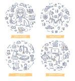 Ley y justicia Doodle Illustrations Imagen de archivo libre de regalías