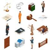Ley y justicia isométricas Símbolos de regulaciones legales Iconos jurídicos fijados Jurídico legal, tribunal y juicio stock de ilustración