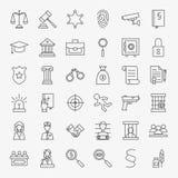 Ley y justicia Line Art Design Icons Big Set Foto de archivo libre de regalías