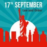 Ley y orden fondo del 17 de septiembre, estilo plano stock de ilustración
