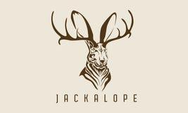 Leyenda animal mística del jackalope del conejo stock de ilustración