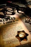 Leyenda del oeste americana Marshall Badge y vieja recompensa Foto de archivo libre de regalías