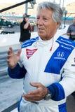 Leyenda Mario Andretti de las carreras de coches de Indy Imagen de archivo