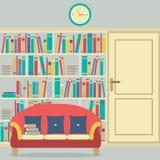 Leyendo Seat en Front Of un estante para libros enorme libre illustration