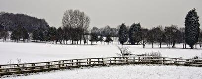 Leyland golfcourse. Winter snowfall on Leyland Golfcourse, Leyland, lancashire, UK royalty free stock photo