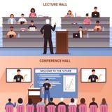 Lezing en Conferentie Hall Banner Set Royalty-vrije Stock Afbeeldingen