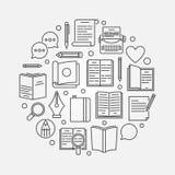 Lezing of literatuur cirkelillustratie stock illustratie